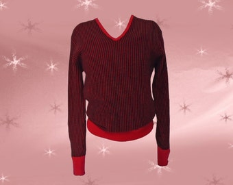 Men's Vintage Rockabilly Wool Sweater - 1950s Men's V-Neck Pullover