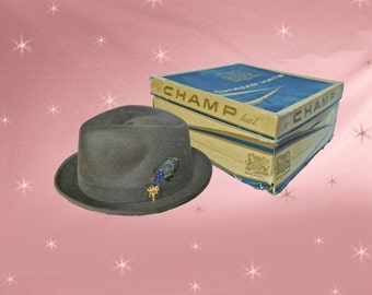Vintage Fedora with HAT BOX - 1950s Stingy Brim Fedora Hat by Champ - MINT