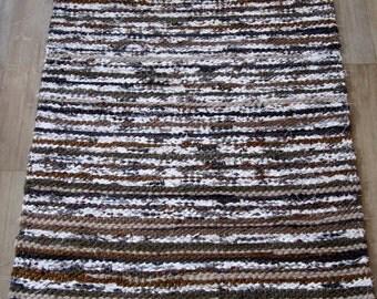 Handwoven rag rug - 2.01' x  3.44'- Dark brown,beige, white, ready for sale