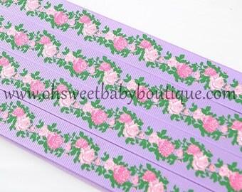 Vintage Floral Grosgrain Ribbon on Lavender