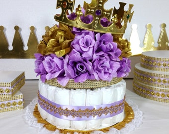 lavender u0026 gold diaper cake centerpiece for princess baby shower girls lavender and gold baby