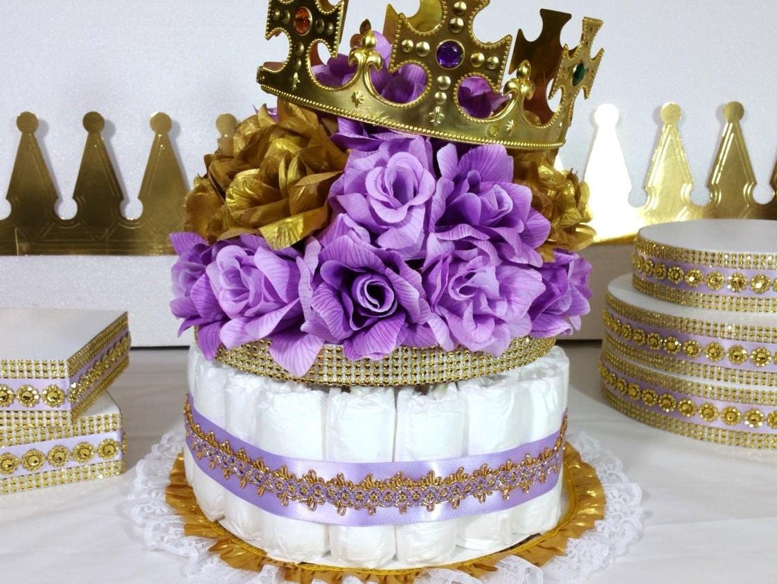 Lavender gold diaper cake centerpiece for princess baby