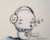 INSTANT DOWNLOAD Digi Stamp Digital Image Kawaii Snowman ~ Silly Chilly Stan Image No. 138 by Lizzy Love