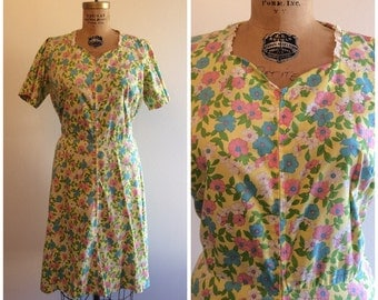 1960s does 1940s Zip Front House Dress 40s 60s Yellow Pink Floral