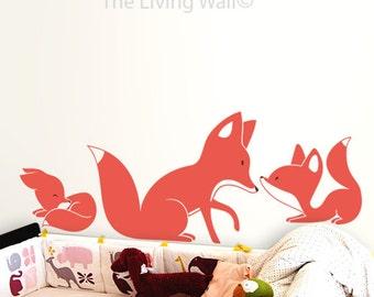 Foxes Wall Decals Wall Stickers Kids room Decor, Fox Nursery Wall Art, Australian made