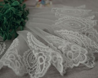 "10 yard 18cm 7.08"" wide ivory mesh tulle gauze fabric embroidered tapes lace trim ribbon L1K247 free ship"