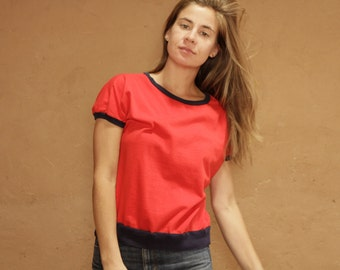 vintage classic RED jersey boxy small WOMEN'S blue piping crop summer shirt