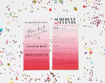 Bachelorette Invitation, Ombre Pink Party Invitation, Weekend Itinerary Bachelorette, Watercolor Invitation, Bachelorette Printable