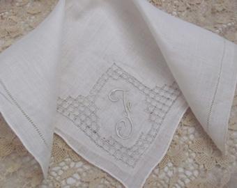 Hankie Solid White Madeira Cotton Hankie Monogrammed F