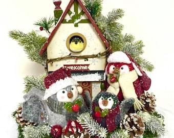 Owl Winter Christmas Arrangement Floral Centerpiece Arrangement NEW 2016 Winter Collection Christmas Custom Designed Large One of a Kind!