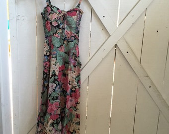 Incredible 1970s vintage sweetheart ruffled floral sundress xs/s