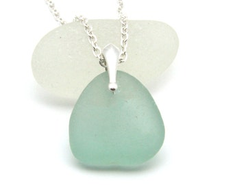 PaleJulep Sea Glass Pendant Necklace Sterling Silver CHANTE