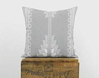 Gray and White Aztec Decorative Pillow Case, Cushion Cover | Southwestern, Navajo, Native Amercan Hand Printed Pattern | Boho Decor