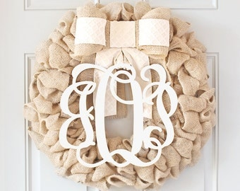 Summer Wreath for Front Door Decoration, Large Monogram Wreath, Burlap Wreath with Initials, Interchangeable Bow