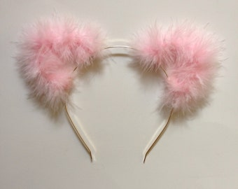 Light Pink Fuzzy Cat Ear Headband