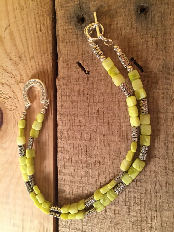 Crystal Horseshoe and Green Stone Beaded Necklace
