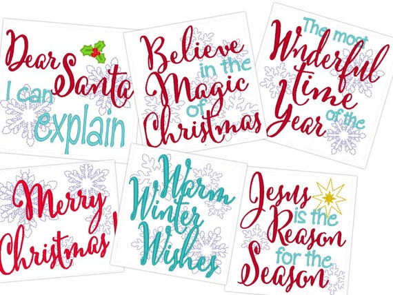 Merry christmas quotes machine embroidery designs