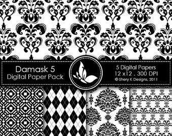 50% off Printable Damask Paper Pack 5 - 5 Printable Digital scrapbooking papers - 12 x12 - 300 DPI