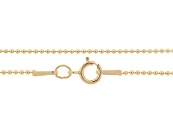 Ball Chain with clasp 14Kt Gold Filled 1mm 20 Inch  - 1pc Neck chain (3660)/1