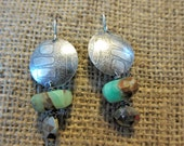 Shield Earring with Blue Peruvian Opal and Pyrite Accents
