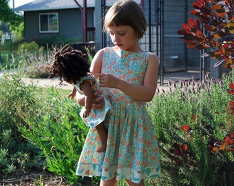 Spring Is in the Air... organic cotton pullover dress with matching doll dress