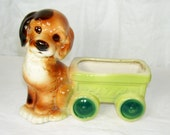 Vintage Royal Copley Ceramic Planter Sad Eyed Puppy Dog Flyer Wagon Brown Green