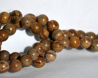 Half Strand 8mm Picture Jasper Gemstone Beads - 25 beads