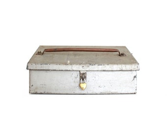 Vintage Metal Box with lock . wedding card box with slot . old metal box with lid . working heart lock and key