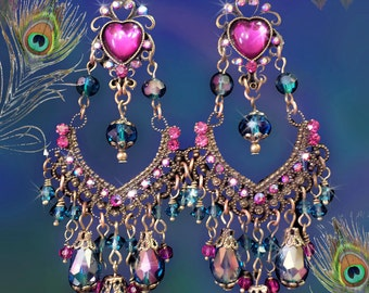 "Aqua  & Fuchsia Hot Pink Rhinestone Crystal Chandelier Earrings, 4 1/2"" Long Princess Heart Earrings, Peacock Teal Blue, Bronze, Fantasy!"