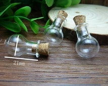 10 pcs 21x11mm Transparent Glass  Wishing Bottles