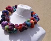 Beautiful necklace - scarf, nuno felt, felt, silk, wool, collar