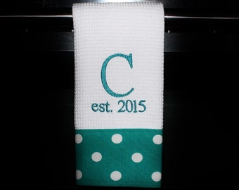 Personalized Dish Towel or Hand Towel - Turquoise and White - Housewarming Gift