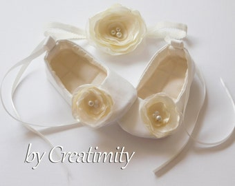 Ivory Flower Girl Shoes Christening Baby Shoes Baptism Shoes Soft Sole Shoes Crib Shoes Baby Headband Baby Shoes Toddler Shoes Baby Gift
