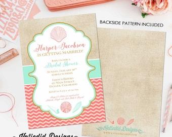 beach bridal shower invitation seashell wedding hen party bachelorette high tea rehearsal dinner engagement 314 shabby chic invitation