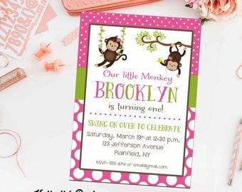 monkey birthday invitation party bash baby girl shower baptism christening baby sprinkle announcement (item 291) shabby chic invitation