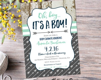 tribal baby shower invitation BOHO chic oh boy arrow sprinkle mint green navy wood rustic chic theme it's a boy gray item 12120 shabby chic