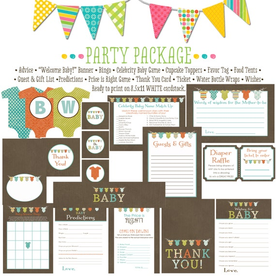 BABY bunting neutral item 1407 package AS IS Matching games, ticket, banner, bingo, thank you card, water bottle wraps, cupcake toppers