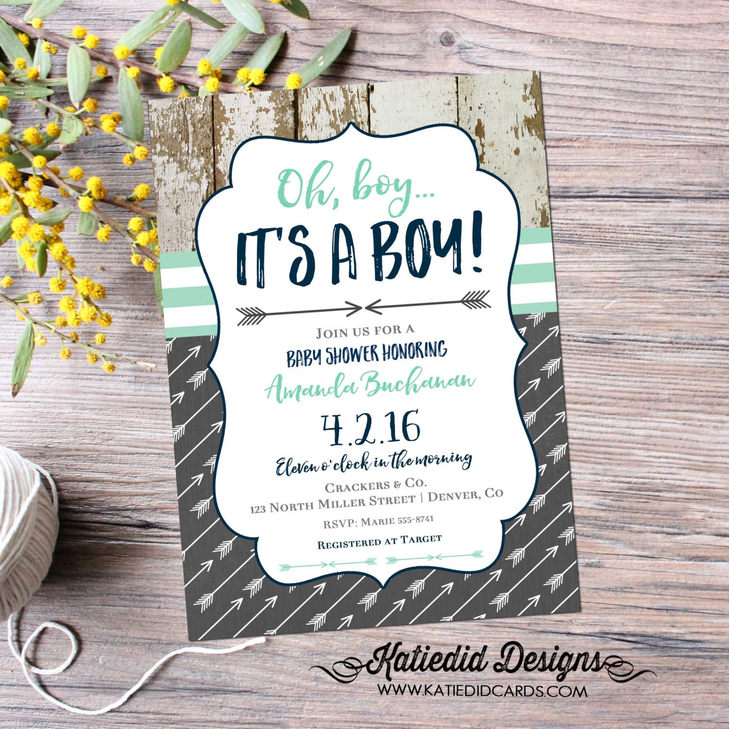 tribal baby shower invitation boho chic oh boy arrow sprinkle mint, Baby shower