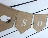 Personalized name bunting, burlap name bunting, custom name bunting, sheep bunting, nursery, baby bunting, baby shower decoration