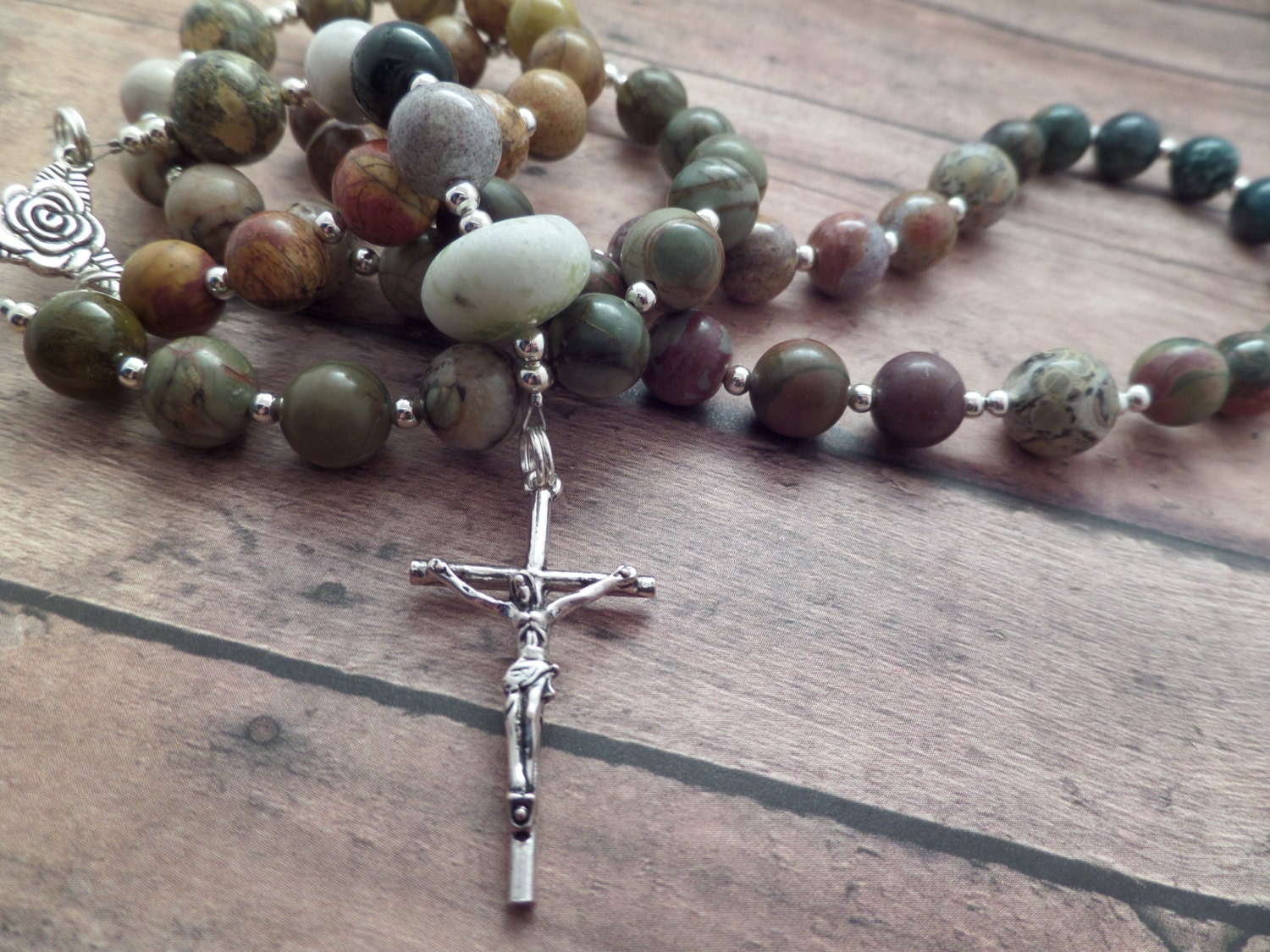 Scottish Rosary in Ombré Jasper with Rare Scottish Iona Marble