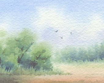 Original ACEO watercolor painting - Lead the way