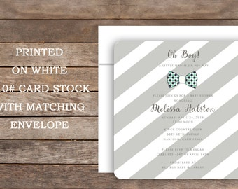 Baby Boy Shower Invitation,  Blue and Gray  Stripe, Little Man Baby Shower, Bow Tie