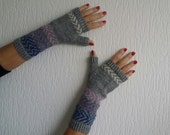 Grey fair isle knitted fingerless gloves or mittens or car gloves or mitts, size medium