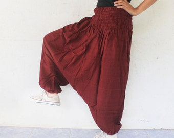 dark brown harem pants memberd fabric,yoga,spa,hippie, boho,bohemian, gypsy,aladddib,jumpsuit,genie ,baggy trousers,unisex pants.