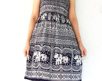 dark blue elephants rayon smock short dress,skirt , size S-L,sleevelessl,jump suit,bohemain,yoga,spa,summer wear