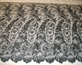 "Black Silk Chantilly Antique Lace Rare Size - 41"" Wide by 74""/2 Yards Long - Great For Dress - Mint Condition Never Used"