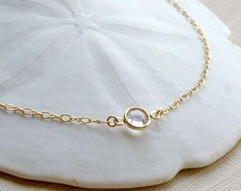 Gold Anklet, Crystal Anklet, Birthstone Gift, Beach Weddings, Bridal Anklet, 14k Gold Filled Anklet, Sterling Anklet, Dainty Anklet