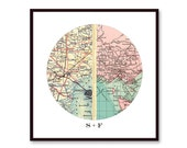 Long Distance Relationship Gift, Map Art, Boyfriend Gift, Girlfriend Gift, Going Away Gift, Moving Away Present, Personalized Map Print