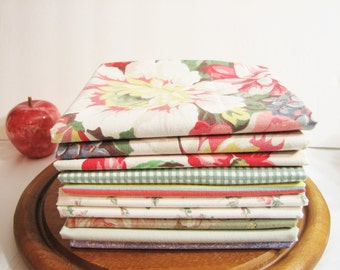 Fat Quarter Fabric Bundle, Set of 10, Vintage Bed Sheets, Reclaimed Ralph Lauren Bed Linens, Bedding, Quilting FQ Fabric