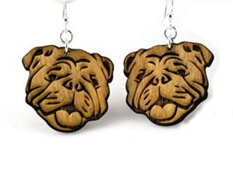 English Bull Dogs - Wood Earrings